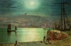 Whitby Harbour By Moonlight, 1870 by John Atkinson Grimshaw - art print from Easyart.com