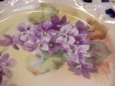 "Exceptional Vintage HP Bavaria ""Violets"" 8-1/2"" Cut Out Mold Plate ARTIST SIGNED"