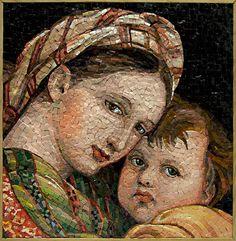 Beautiful Mary and Jesus mosaic portrait. Mosaic Tile Art, Mosaic Crafts, Stone Mosaic, Mosaic Glass, Mosaic Designs, Mosaic Patterns, Mosaic Portrait, Portrait Art, Mosaic Madness