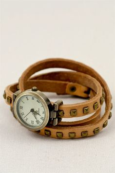 Wrapped Around in Time Leather Watch   three bird nest