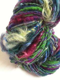 """Echeveau de laine filée au rouet """"ma laine"""" : Mercerie par le-temps-du-filage"""