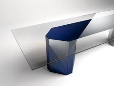 Mesa retangular de cristal AKIM by Gallotti