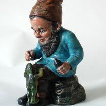 Charming Heissner Gnome giving medicine to a lttle frog, designed by Prof. Paul Lothar Mueller, ~1920, sold