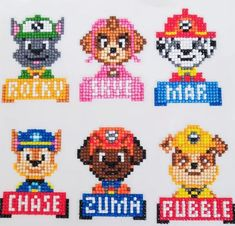 Crafts To Do, Crafts For Kids, Diy Crafts, Pixel Art, Cross Stitch Embroidery, Cross Stitch Patterns, Paw Patrol Stickers, Motifs Perler, Pixel Pattern