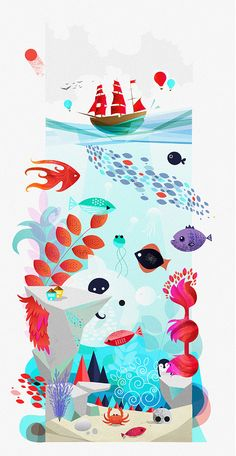Sea Creatures by Iryna Korshak, New York, NY, USA. #illustration