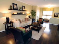 Transitional Living Room With Floating Shelves | HGTV