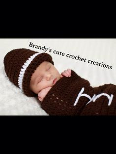 Baby football cocoon and matching hat $15-$25 order at https://www.facebook.com/Brandyscutecrochetcreation?ref=hl