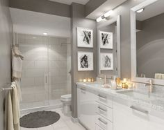 Contemporary 3/4 Bathroom with Basic White 8X16 Polished Ceramic Wall Tile