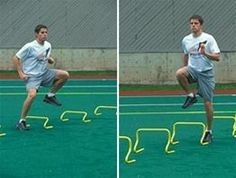 Performance Hurdles are essential for teaching leg recovery and force application. Athletes learn to snap their legs up and down for maximum power output an