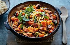 Aubergine & butternut squash tagine. Full flavoured and packed with lots of lovely veggies. The prunes add a touch of sweetness.