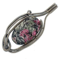 """Huge Rough Russian Eudialyte 925 Sterling Silver Pendant 2 1/2"""" PD546267"""