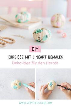 Kreative Idee zum Selbermachen für den Herbst: Kürbisse mit Lineart bemalen - kreative Idee zum Kürbis bemalen ohne Schnitzen