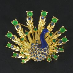 Vintage Boucher Rhinestone Enamel Peacock Figural Pin - available from The Vintage Jewelry Boutique on Ruby Lane