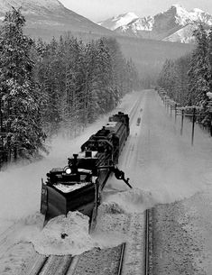 CP 5558 and plow 40100 heading for Rogers Pass based at Golden rolls past with the spreader winging snow clear of the passing track. Donald BC c1974