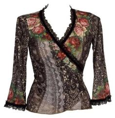 Refashion Inspiration. Amazon.com: Kimono Sleeves Wrap Shirt Created by Michal Negrin with Lace and Velvet Trim, Swarovski Crystal Accented Victorian Roses and Lace Like Patterns: Clothing