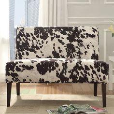 HomeVance Harris Cowhide Print Settee Chair, Black