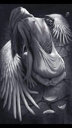 Broken Wings An angel of repentance with a heart of stone. A heart that was once soft to the touch, now lay dormant, cold as rigid ice. Her long dark flowing hair wrapped around a pale slim body adorned with broken wings torn to shame, which she wore like Fantasy Kunst, Fantasy Art, Fantasy Women, Engel Tattoo, Angel Falls, Angel Drawing, Ange Demon, Angel And Devil, Angels And Demons
