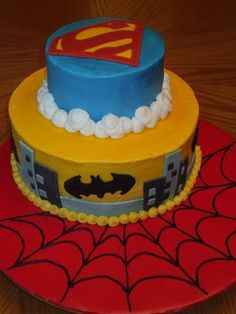 My boys picked this for their birthdays.  Inspired by several similar and terrific cakes on CC.  All BC except fondant buildings.  Superman emblem and bats are FBCT.  So much fun to do!!