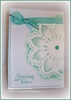 Stamps: Hello Doily, Thoughts and Prayers   Paper: white   Ink: pool party   Accessories: white embossing powder, sponges, ribbon, dimensionals.   Techniques: emboss resist, heat embossing, 3D
