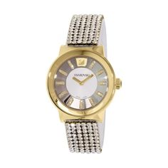 Clear crystal mesh bracelet Round gold PVD stainless steel case, Silver-tone dial with hand-applied clear crystals at gold-tone hour markers and two han. Mesh Bracelet, Bracelet Watch, Swarovski Watches, Faceted Crystal, Stainless Steel Case, Quartz Watch, Gold Watch, Best Gifts, Trends