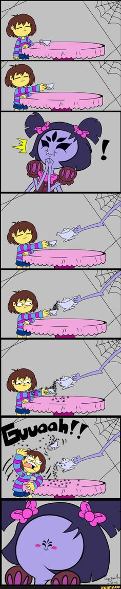 If that was me, and all those spiders were Jumping Spiders, I wouldn't mind in the slightest if they went on me like that! :D Also, Muffet's face! xD