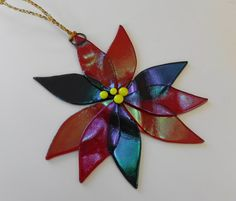 Christmas Stained Glass Poinsettia Red and Green by GlassCat
