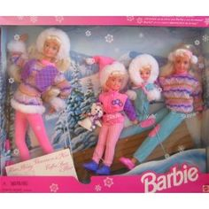 Winter Holiday BARBIE Gift Set Sledding Fun w Barbie Koko Stacie Kelly Skipper Dolls Dog 1995 -- To view further for this item, visit the image link. New Barbie Dolls, Barbie Skipper, Barbie Toys, Barbie Playsets, Barbie Stuff, Doll Stuff, Barbie Clothes, Luge, Barbie Kelly