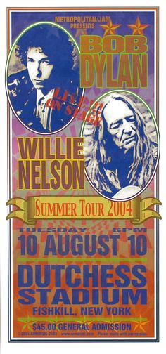 Original silkscreen concert handbill for Bob Dylan and Willie Nelson at Dutchess Stadium in Fishkill, NY in x inches on card stock. Art by Mark Arminski. Rock Posters, Band Posters, Music Posters, Film Posters, Horror Movie Posters, Horror Films, Lps, Vintage Movies, Vintage Posters