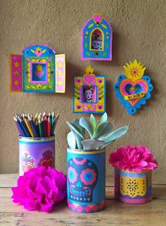 Printable box frame templates: Day of the Dead nichos and tin can wrappers - tutorial and templates at happy thought.co.uk