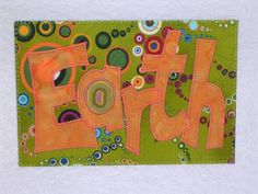 EARTH POSTCARD  Fabric Quilted Appliqued Postcard