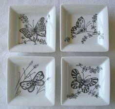 4 papillons - Photo de Vide poches - L'atelier de Mademoiselle Petite Plume