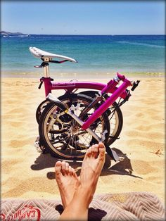 Pink Brompton at the beach