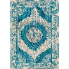Well Woven Sydney Teal Blue/Beige Area Rug Rug Size: Runner 2' x 7'3""