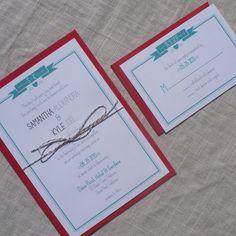 Modern Monogram Wedding Invitation - Modern, classic, banner and heart invitation-. $3.75, via Etsy.