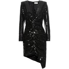 Saint Laurent Sequinned Silk Dress ($6,255) ❤ liked on Polyvore featuring dresses, black, silk cocktail dress, silk dress, yves saint laurent dresses, sequin embellished dress and yves saint laurent