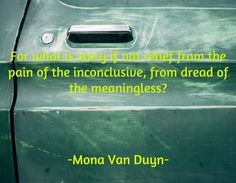 For what is story if not relief from the pain of the inconclusive, from dread of the meaningless? / -Mona Van Duyn-