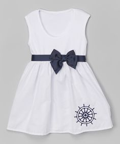 Look what I found on #zulily! Caught Ya Lookin' White & Navy Wheel Bow Dress - Infant & Toddler by Caught Ya Lookin' #zulilyfinds