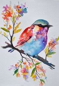 ORIGINAL Watercolor Bird Painting, Pastel Colored Rainbow Roller, Colorful Watercolor Flowers 7x10 Inch