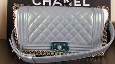 BNWT AUTH CHANEL LE BOY Medium Light Blue Pearl Patent Leboy Bag Silver HW 2016  #CHANEL #MediumLeBoy Blue Shoulder Bags, Canvas Shoulder Bag, Chain Shoulder Bag, Leather Shoulder Bag, Chanel Beach Bag, Chanel Boy Bag, Chanel Lego, Chanel Double Flap, Vintage Chanel Bag