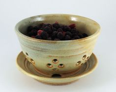 Berry Bowl- Berry Strainer- Yellow / Pale Green / Handmade Wheel Thrown Pottery on Etsy, $40.05 CAD