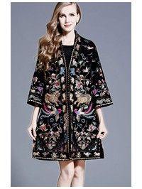 Magical Embroidered Phoenix Wool-Blend Qipao / Cheongsam Coat