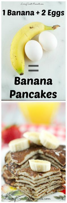 These 2 Ingredient Banana Pancakes are so easy to make! All you need is 2 eggs a… These 2 Ingredient Banana Pancakes are so easy to make! All you need is 2 eggs and a banana in a blender! They are gluten free and so delicious. Gluten Free Breakfasts, Gluten Free Recipes, Low Carb Recipes, Cooking Recipes, Healthy Recipes, Diet Recipes, Chicken Recipes, Celiac Recipes, Recipies