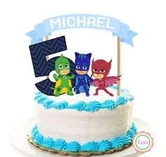 PJ Masks birthday cake topper banner set, 3 pieces, party decorations, cake supplies, boys happy birthday, party favors, centerpiece - 2 by ConfettiKake on Etsy https://www.etsy.com/listing/456049110/pj-masks-birthday-cake-topper-banner-set