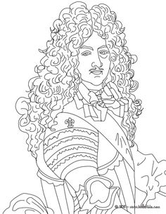 King LOUIS XIV, The Sun King coloring page