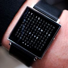 QLOCKTWO W brings the ingenious concept of telling the time with words to your wrist. At first glance, it appears to be nothing more than a matrix of seemingly randomly arranged letters. Only the gentle touch of a button reveals IT IS HALF PAST EIGHT. Words are displayed at five-minute intervals, while four small dots give the precise time in minutes: just like its award-winning predecessors, the legendary QLOCKTWO and QLOCKTWO TOUCH.
