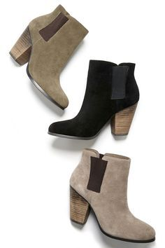 suede ankle booties with elastic sides
