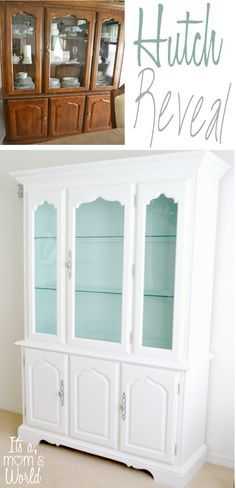 It's a world from Mom's: Dining Room Hutch Makeover Reveal . - It's a world from Mom's: Dining Room Hutch Makeover Reveal … – It's a - diy Dining room hutch Refurbished Furniture, Repurposed Furniture, Furniture Makeover, Painted Furniture, Refurbished Hutch, White Furniture, Diy Furniture, Rustic Furniture, Antique Furniture