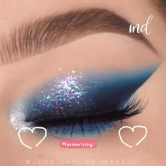 --Video Pin-- Blue is the cutest color, pair it with some sparkles amp; you end up with a masterpiece of a look! By: jessicarose_makeup Blue Eyeshadow Looks, Makeup Eye Looks, Eye Makeup Steps, Glitter Eyeshadow, Colorful Eyeshadow, Makeup Inspo, Makeup Art, Makeup Inspiration, Makeup Tips