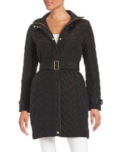 Cole Haan Signature Essential Belted Quilted Coat Women's Black Medium
