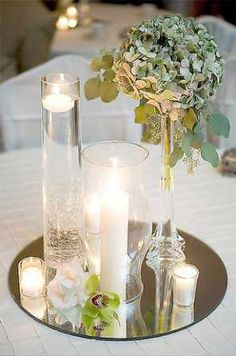 mirror centerpiece example - found at Hobby Lobby or any craft store